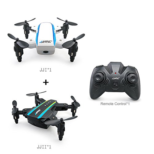 Umanned Aerial Vehicle(UAV), JJR/C MINI Foldable RC Drone 4-Axis Quadcopter Ready-To-Fly(RTF) Remote Control Aircraft With Batteries and USB Charger Including 2 Pack Planes (1 Black+1 White) by Mayfan