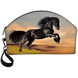Horse Decor Small Portable Cosmetic Bag,Western Wildlife Theme Friesian Horse Galloping Idyllic Sunset Scenery Pasture Decorative For Women,One size