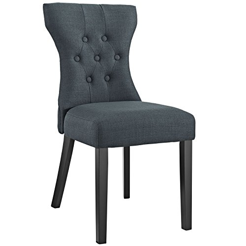 Modway Silhouette Tufted Upholstered Fabric Parsons Dining Side Chair in Gray (Side Upholstered Room Chairs Dining)
