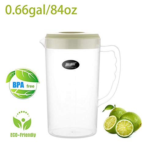 (0.66 Gallon Big Plastic Pitcher with Lid BPA-FREE Eco-Friendly Carafes Mix Drinks Water Jug for Hot/Cold Lemonade Juice Beverage Jar Ice Tea Kettle (84oz, Green))