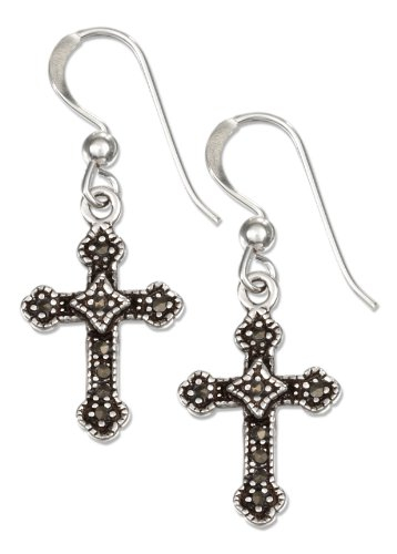 - Sterling Silver Marcasite Cross French Wire Earrings
