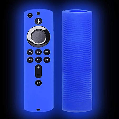 Price comparison product image Transser Shockproof Anti-Lost Protective Silicone Cover Case for Amazon Fire TV Stick 4K Remote,  Luminous Protective Cover (Blue)