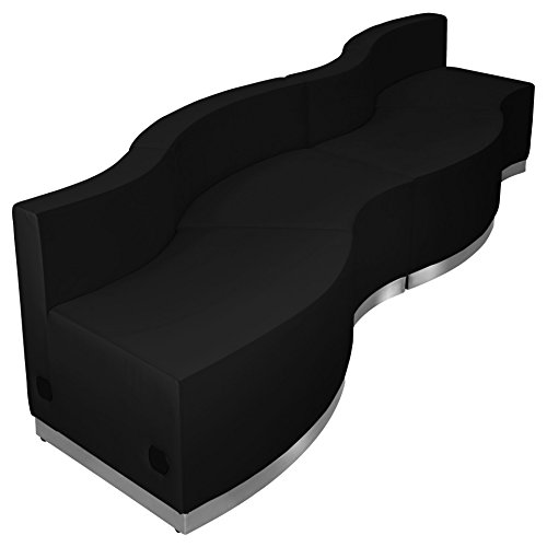 Flash Furniture HERCULES Alon Series Black Leather Reception
