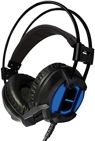 Gaming Headset Headset with 7.1 Surround Sound Stereo, PS4 Headset with Noise Canceling Mic LED Light, Compatible with PC, PS4 Blue