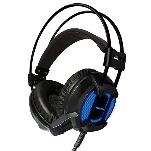 HDCKING 7.1 Surround Stereo Sound USB Gaming Headset Noise Cancelling Over Ear Headphones with Mic Volume Control Soft Memory Earmuffs for PC Laptop Gamers(7 RGB Light)