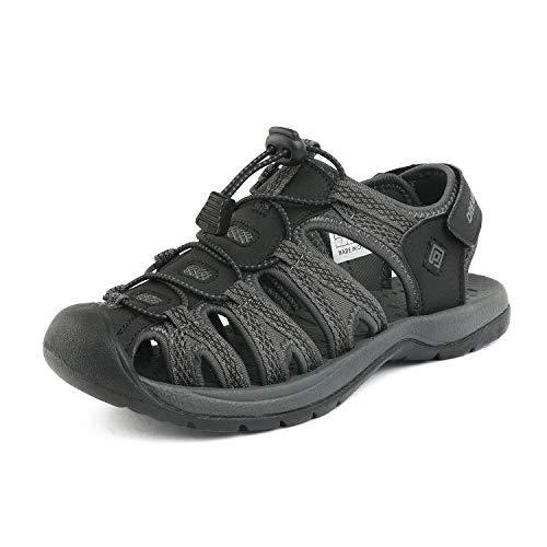 DREAM PAIRS Women's 160912-W-New Black DK.Grey Adventurous Summer Outdoor Sandals Size 7 M US