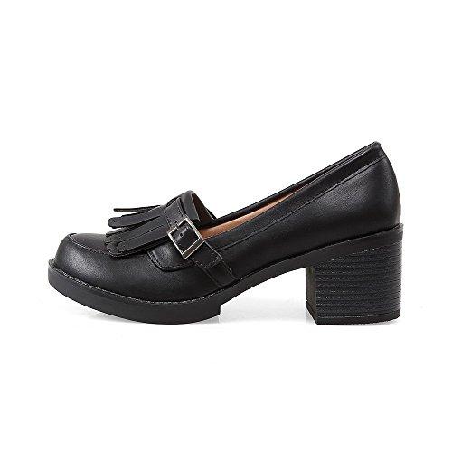 AllhqFashion Damen Weiches Material Schnalle Rund Zehe Mittler Absatz Rein Pumps Schuhe Schwarz