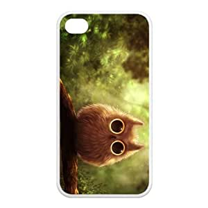 lintao diy Newly Fashion Brand New White and Black Lovely Owl Plastic Cases for iPhone4 iPhone4S
