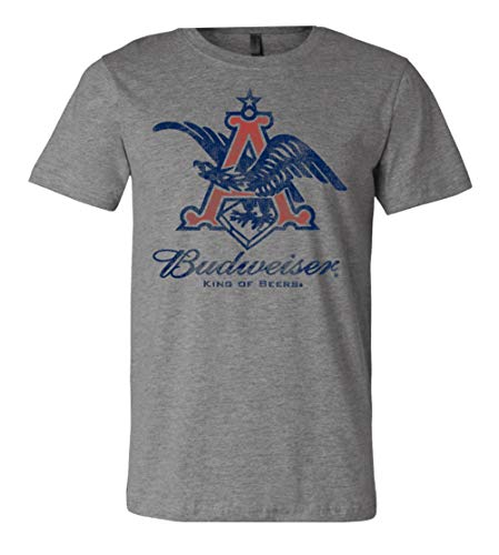 Brew City Beer Gear Budweiser Vintage Eagle Short Sleeve T-Shirt-Deep Heather-Large ()