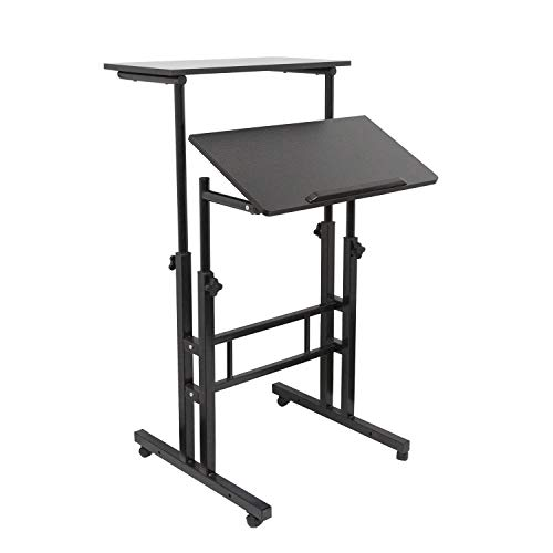 BarleyHome Height Adjustable Standing Desk Converter Mobile Stand Up Table Home Office Workstation Riser, Rolling Laptop Cart for Standing and Sitting, Black (Workstation Mobile Stand Adjustable)