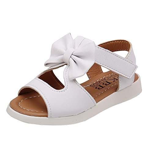 Infant Boy Shoes,Summer Kids Children Sandals Fashion Bowknot Girls Flat Pricness Shoes,Girls' Running Shoes,White,5T ()