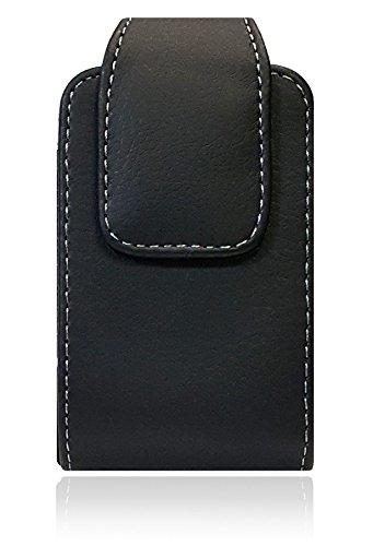 AccessoryHappy Vertical Leather Belt Case, 360 Rotating PU Leather Flip Phone Pouch Case Hip Holster Belt Clip Case Fits Most FLIP Phones ()