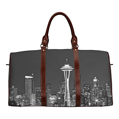 Large Leather Travel Duffel Bag For Men Women Seattle Night Printing Waterproof Overnight Weekend Bag Luggage Tote Duffel Bags For Travel Gym Sports School Beach