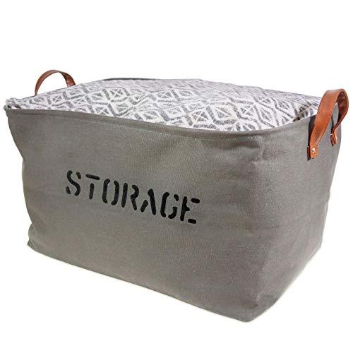 OrganizerLogic Storage Baskets 22 L x 15 x 13H. Extra Large Woven Basket Storage Canvas for Toys, Kids, Pets, Laundry Bin- Sturdy Lightweight and Decorative Natural Bins, Medium Gray
