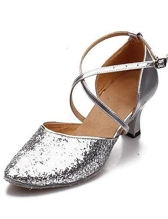 ShangYi Non Customizable Women's Dance Shoes Modern Paillette Cuban Heel More Colors , blue-us8 / eu39 / uk6 / cn39 , blue-us8 / eu39 / uk6 / cn39
