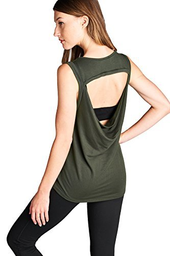 Laclef Women's Super Soft Knit Cowl Back Yoga Tank Top (Small, Olive)