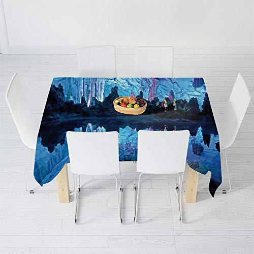 - Dust-Proof Tablecloth,Natural Cave Decorations,for Kitchen Dinning Tabletop Decoration,40.2 X 20.1 Inch,Illuminated Reed Flute Cistern with Artifical Crystal