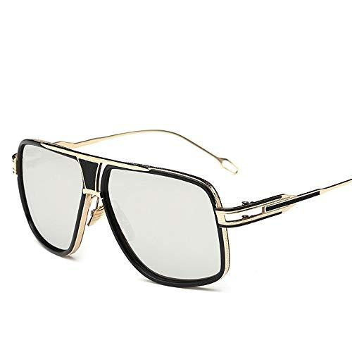 Espejo de de Gafas Plata con Ligero Montura Unisex Retro Vintage Gafas Lente para Mujer Metal Estuche A UV400 Gafas de de Sol Hombre Sol Fliegend Gafas Polarizadas Sol Súper wRC5qyT