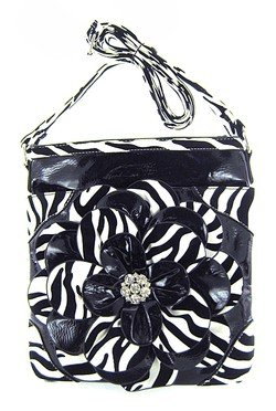 Zebra Print Satchel Handbag (Black 3d Raised Flower Zebra Print Hipster Cross Body Messenger Purse (Black))