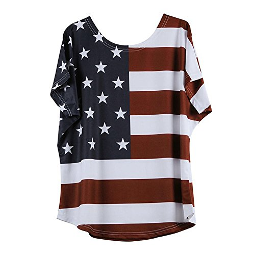 (ZOMUSAR Women Fashion Plus Size Loose Star Stripe American Flag Printed O-Neck T-Shirt Blouse (M,)