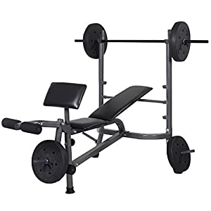 Goplus Standard Weight Lifting Bench Set Incline/Flat Adjustable with 4 Weights/Leg Developer/Dumbbell Bar (Weight Bench+Weight Plate)