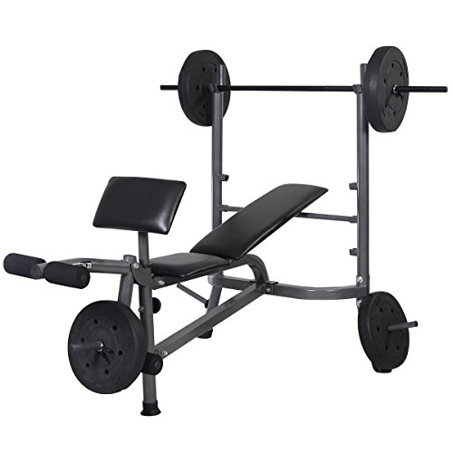 Goplus Standard Weight Lifting Bench Set Incline/ Flat Adjustable with 4 Weights/ Leg Developer/ Dumbbell Bar by Goplus