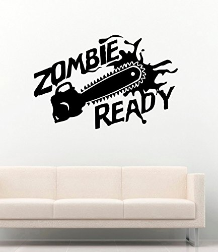 New Decal Zombie Ready Dead Horror Chainsaw Vinyl Wall Decals Halloween Decor Stickers Vinyl Mural MK3352]()