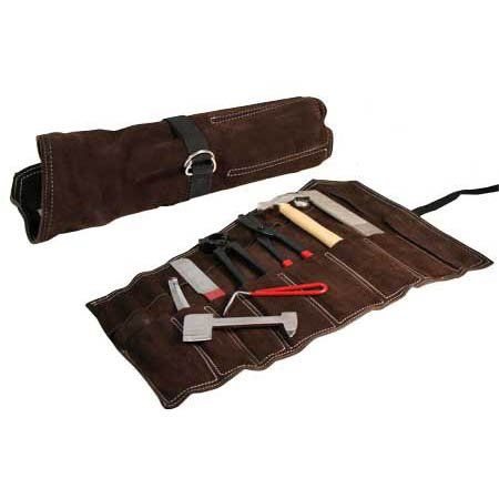 Derby Originals Professional Grade Farrier Tool Kit - Includes a Hoof Rasp, Knife, Pick, Scraper, Nippers, Hammer, Nail Clincher, Clinch Cutter, and Suede Carry Case by Derby Originals