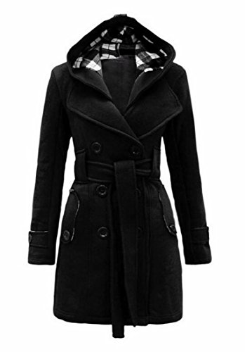 Belted Mid Length Coat - Zago Womens Double-Breasted Belted Hooded Mid Length Wool Trench Pea Coats Black L