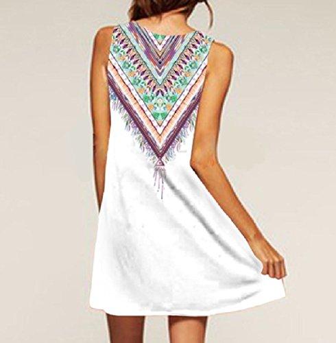 Dalla Stile Maglia Estivi Bianco Etnico Quotidianamente Linea Una Coolred Di Maniche Vestiti donne dgqzFx0d