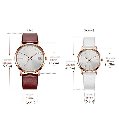 SK SHENGKE Couple Watches Anniversary Gifts for Lover Set of 2 Pairs Sweet Gifts for Valentines. (K8039-Brown-White) by SK SHENGKE (Image #4)