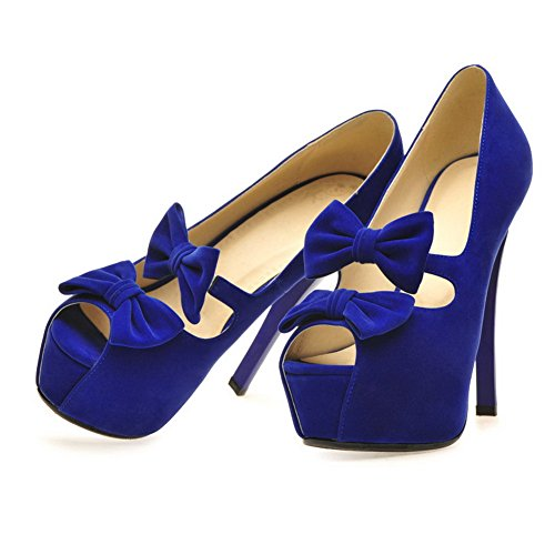 Platform Womens High Solid Stiletto with VogueZone009 Blue Pumps Toe Frosted Open Heel Bowknot Suede Peep xagdnZw0q