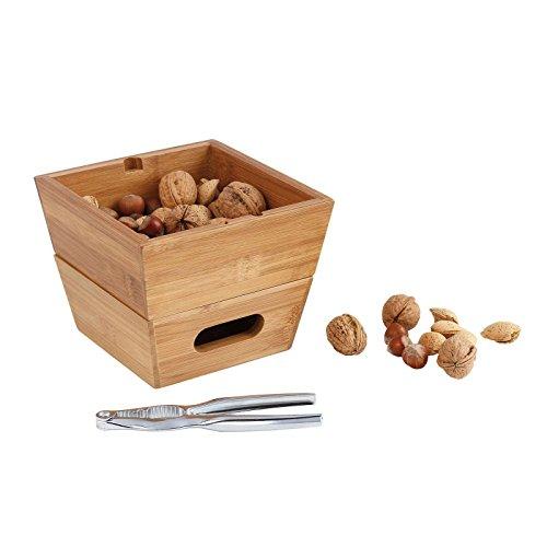 Hochwertiges Nussknacker Set Holz Nussschale Holzschale 2 Nussschalen (Edelstahl, Bambusschale Stapelbar, Schale für Nüsse)