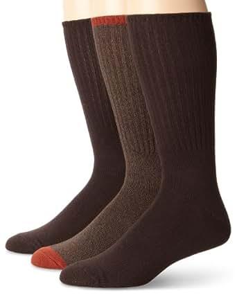 K. Bell Socks Men's 3-Pair Pack Fashion Crew Sock, Brown, 10-13