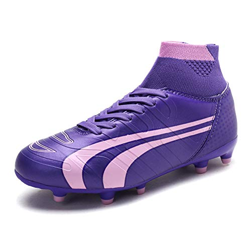 DREAM PAIRS Little Kid 160862-K Purple Pink Soccer Football Cleats Shoes - 2 M US Little - Pink Cleats Soccer Girls