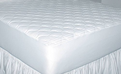 Newpoint Home Deluxe 250-Thread-Count Cotton Damask Stripe Queen Mattress Pad (Renewed)