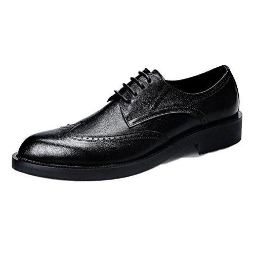 Scarpe in Pelle Nera Uomo Derby Business Stringate in Pelle Scarpe di Pelle Bullock Intagliato Scarpe da Uomo di Grandi Dimensioni Black