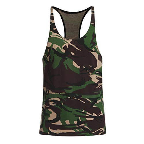 (Tank Tops for Men GREFER Camo Heavyweight Sleeveless Muscle T-Shirt Slim Fit Undershirt)