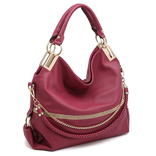 (Dasein Women Classic Large Hobo Bag Rhinestone Chain Shoulder Bag Top Handle Purse (Red))