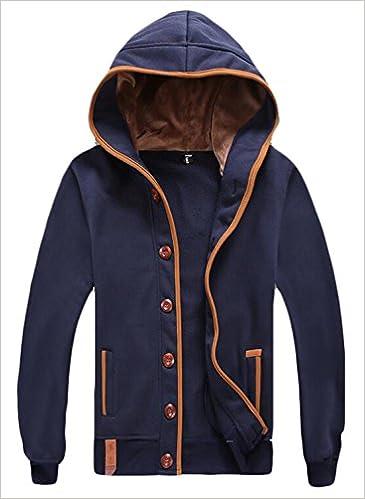 b79f728816 Vska Men s Athletic Button Front Hooded Sweatshirt Cardigan Dark Blue US XS  Apparel