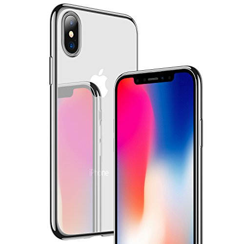 iPhone X Case, RANVOO [Ultra Thin] Clear Case Slim Fit Soft TPU Cover [Premium Gel] Flexible Bumper [Supports Wireless Charging] for iPhone X/10-Silver