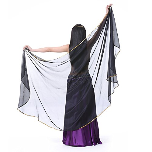 - 8.2 ft x 3.9 ft Light Weight Semicircle Chiffon Scarf, Belly Dance Veils, Belly Dance Shawls (BLACK)