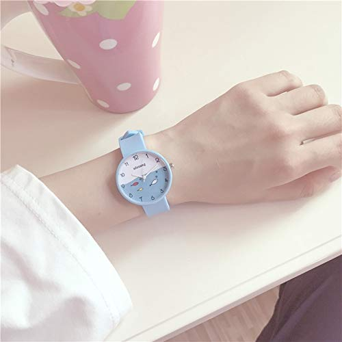 Unique Women Gift Elegant Cute Women Girls Junior high School Student Fashion Candy Colored Jelly Watch (Sky Blue (Send Original Battery Box +)