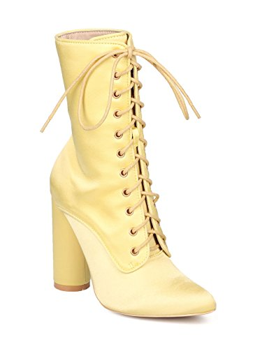 (CAPE ROBBIN Women Satin Pointy Toe Lace Up Round Chunky Heel Boot GF85 - Yellow (Size: 8.5))