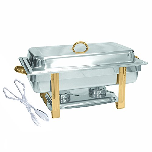 Tiger Chef 8 Quart Full Size Buffet Chafing Dish Set with Gold Accents and Plastic Serving Tong