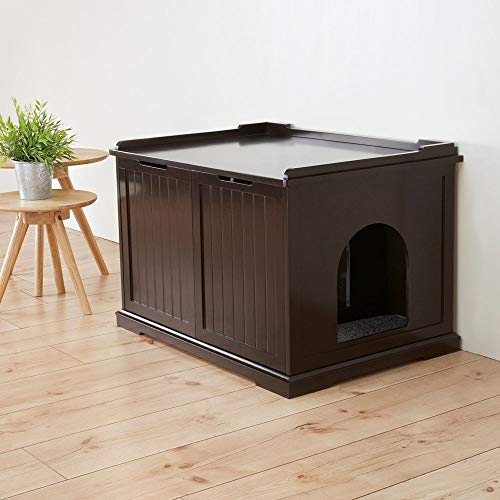 Trixie Pet Products Wooden Pet House X-Large and Litter Box, Brown