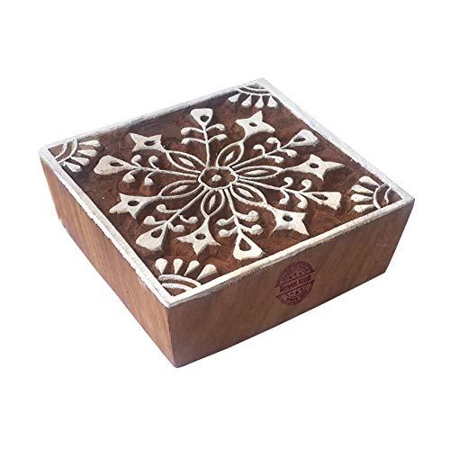 Designer Printing Stamps Square Flower Motif Wood Blocks