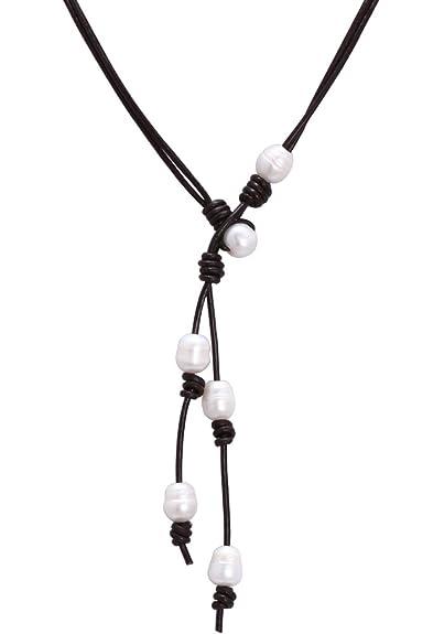 ca0f4818a57e Largo collar de perlas de agua dulce de piel para mujer Pearl de 2 hebras  cordón de piel colgante joyería  Amazon.es  Joyería