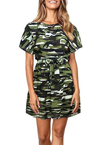 Ruiyige Women Girls Casual Camouflage Print Short Sleeve Skirt Crewneck Elastic Waist T-Shirt Dress(S)