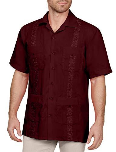 NE PEOPLE Men's Short Sleeve Cuban Guayabera Button Down Shirts Top XS-4XL (Kids Cuban Shirt)